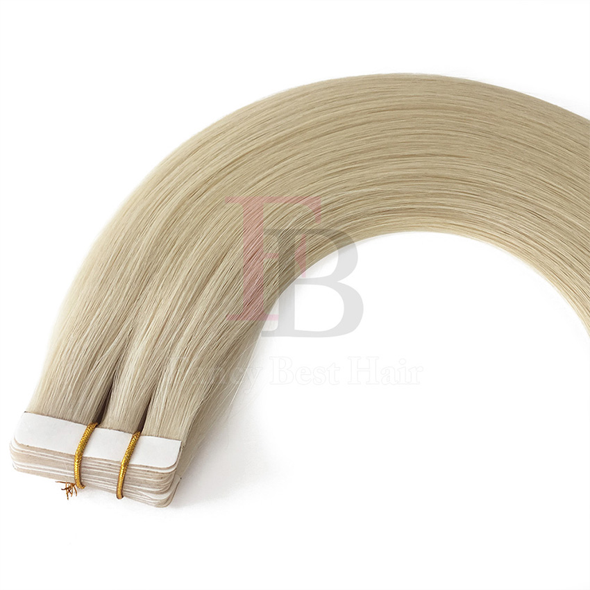 Platinum Blonde #60 tape in hair extension